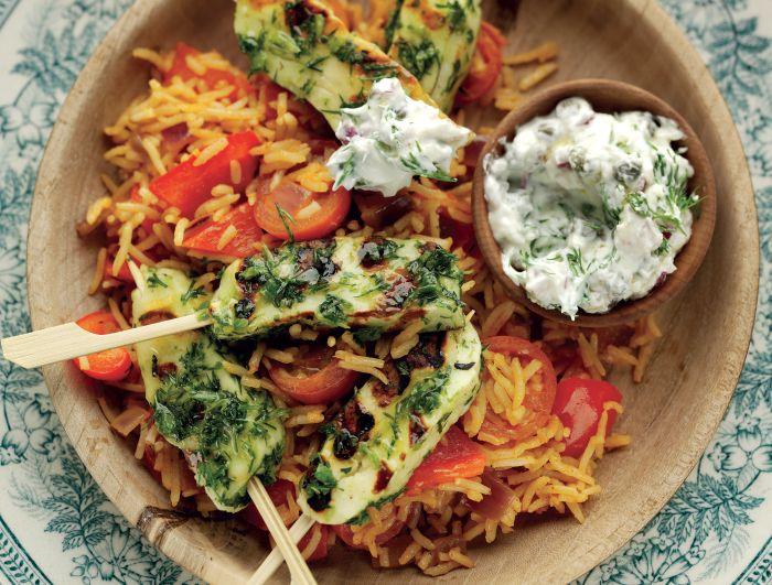 Chilli and Halloumi Skewers Vegetarian Recipe